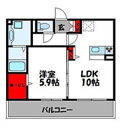 JR篠栗線 柚須駅 徒歩22分の賃貸アパート 3階1LDKの間取り