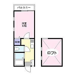 神奈川県横浜市磯子区杉田3の賃貸アパートの間取り