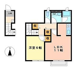 愛知県名古屋市中川区上脇町2丁目の賃貸アパートの間取り