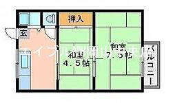 リバティーアパート[1階]の間取り