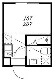 ハーモニーテラス松島 2階ワンルームの間取り