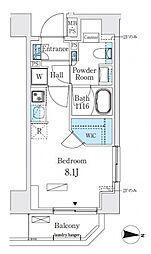 リビオメゾン両国イースト 4階ワンルームの間取り
