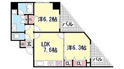 ロイヤルヒル神戸三ノ宮II[8階]の間取り