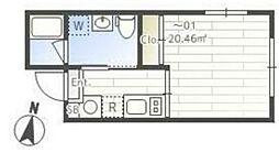 JASPER Komazawa 4階ワンルームの間取り