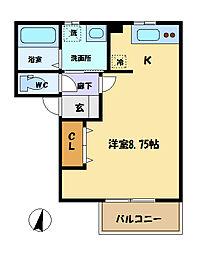 埼玉県さいたま市中央区上落合6丁目の賃貸アパートの間取り