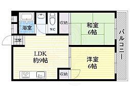 阪急千里線 千里山駅 徒歩9分の賃貸マンション 1階2LDKの間取り