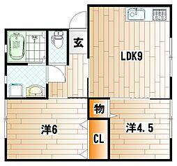 福岡県北九州市門司区原町別院の賃貸アパートの間取り