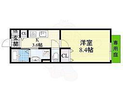 阪急京都本線 上新庄駅 徒歩7分の賃貸アパート 1階1Kの間取り