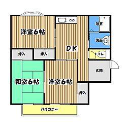 東京都昭島市拝島町2丁目の賃貸アパートの間取り