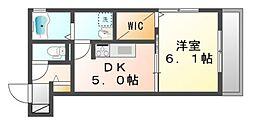 岡山県岡山市北区津島笹が瀬の賃貸アパートの間取り