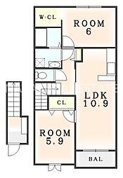 シェルブルーB[2階]の間取り