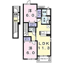 ヴィラグッドラックA棟[2階]の間取り