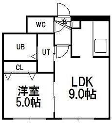 フロンティア円山[401号室]の間取り