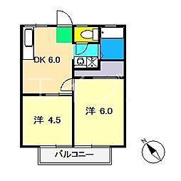 北川ハイツI[1階]の間取り