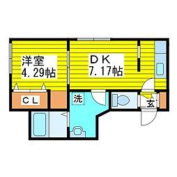 札幌市営東豊線 北13条東駅 徒歩4分の賃貸マンション 4階1DKの間取り