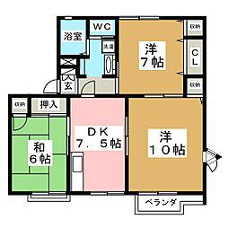 コーポ蜂屋敷A[2階]の間取り
