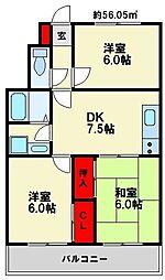 ロワールマンション南福岡2[4階]の間取り