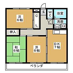 ハウスブランシェ[1階]の間取り