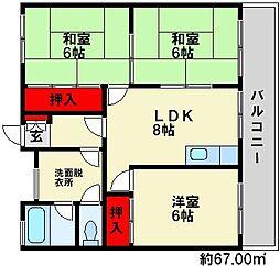 福岡県大野城市中1丁目の賃貸マンションの間取り