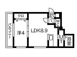 イルセントラレ南12条 3階1LDKの間取り