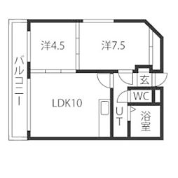 ドミローレル第8[4階]の間取り