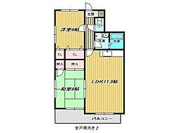 兵庫県神戸市垂水区霞ケ丘1丁目の賃貸アパートの間取り