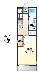 茨城県ひたちなか市大字足崎の賃貸アパートの間取り
