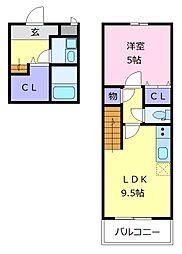 泉北高速鉄道 深井駅 徒歩15分の賃貸アパート 2階1LDKの間取り
