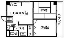 JR阪和線 久米田駅 徒歩5分の賃貸マンション 1階2LDKの間取り