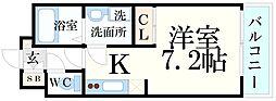 JR東海道・山陽本線 甲南山手駅 徒歩2分の賃貸マンション 3階ワンルームの間取り
