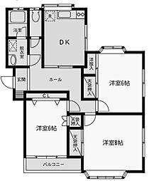 愛川パレスC[1階]の間取り