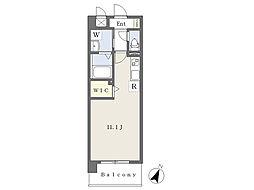ロザリアンアベニュー南熊本 6階ワンルームの間取り
