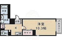 arriate北桜塚 5階1Kの間取り