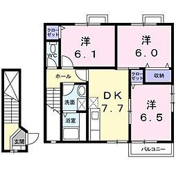 ハッピースクエアー II[2階]の間取り