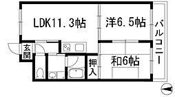 兵庫県西宮市上大市2丁目の賃貸マンションの間取り