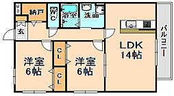 兵庫県伊丹市梅ノ木2丁目の賃貸マンションの間取り