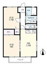 TOMATOハイツ B棟[B1-2号室]の間取り