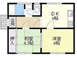 富田林久野喜台1号住宅 1階2DKの間取り