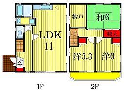 [一戸建] 千葉県船橋市宮本8丁目 の賃貸【/】の間取り