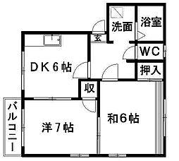 タウニィ村松[101号室]の間取り