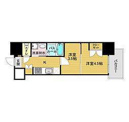 JR鹿児島本線 博多駅 徒歩10分の賃貸マンション 10階2Kの間取り