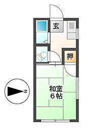 愛知県名古屋市千種区菊坂町3丁目の賃貸アパートの間取り