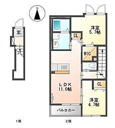 柳川市蒲船津アパートB[2階]の間取り