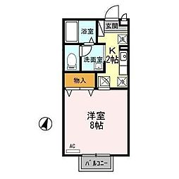セジュール山田C[102号室]の間取り