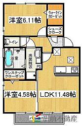 フェアプラッツ参番館 2階2LDKの間取り