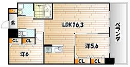 福岡県北九州市小倉南区曽根北町の賃貸マンションの間取り