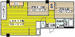 淡路コーポ2号棟[2階]の間取り