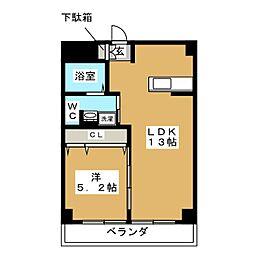フラワーマンション片倉 1階1LDKの間取り