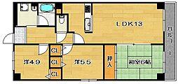 大阪府茨木市西河原2丁目の賃貸マンションの間取り
