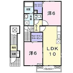 埼玉県入間郡越生町上野東1丁目の賃貸アパートの間取り